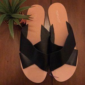 New TOPSHOP Black Leather Upper Slides